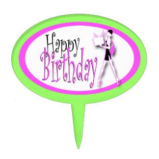 Moda verde rosada del cumpleaños de los chicas decoración de tarta