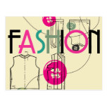Moda y botón e hilo postal