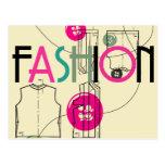 Moda y botón e hilo postales