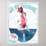 Moda y playa del bañador de París Francia del vint Poster