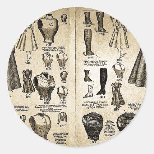 Modas de la bicicleta - catálogo del vintage pegatina redonda