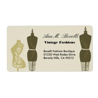 Modas del diseñador del vintage y negocio del arte etiqueta de envío