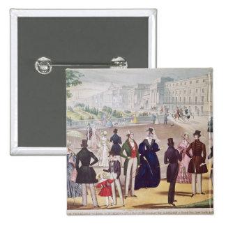 Modas del verano para 1840 pin cuadrada 5 cm