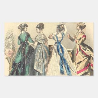 Modas elegantes del Victorian Rectangular Pegatinas