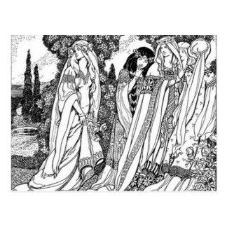 Modas medievales blancos y negros postal