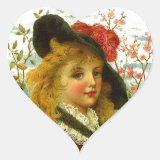 Modas preciosas de la ropa del Victorian del Pegatina En Forma De Corazón
