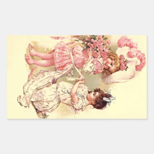 Modas preciosas del boda del Victorian del vintage Pegatina Rectangular