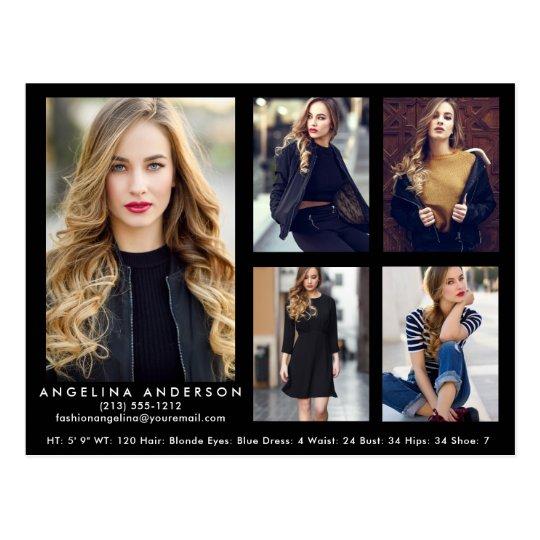 Model Actor Comp Card Black 5 Photo Postcard | Zazzle.com