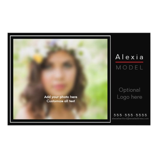 Model actor comp zed z card template flyer zazzle for Model comp card template free