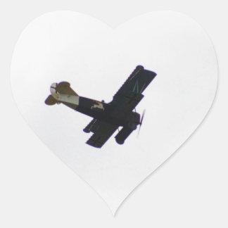 Model Biplane In Flight Heart Sticker