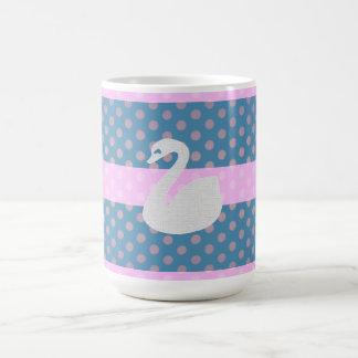"Model, blue and pink large Mug, ""white Swan "" Coffee Mug"