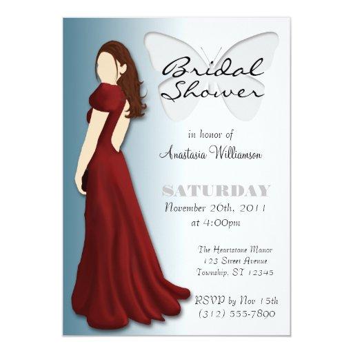 "Model Butterfly Elegant Bridal Shower Invitations 5"" X 7"" Invitation Card"