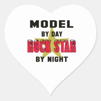 Model by Day rockstar by night Heart Sticker