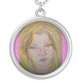 model features round pendant necklace