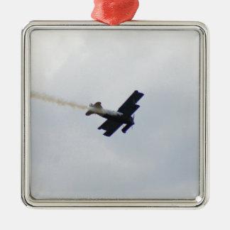 Model Fokker Making Smoke Square Metal Christmas Ornament