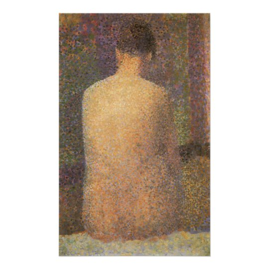 Model From Behind by Georges Seurat, Vintage Art Poster
