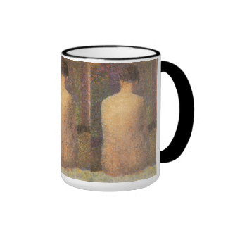 Model From Behind by Seurat, Vintage Pointillism Ringer Coffee Mug
