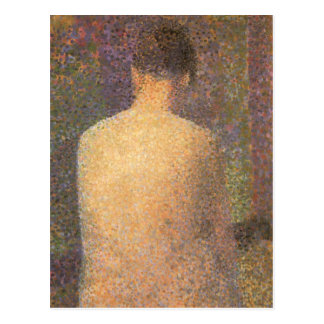 Model From Behind by Seurat, Vintage Pointillism Postcards