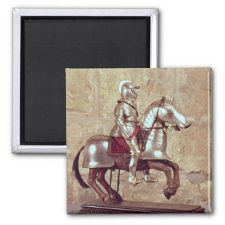 Model of a barded horse and rider, c.1640 2 inch square magnet