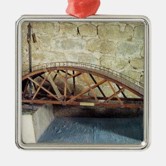 Model of a swing bridge metal ornament
