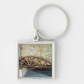 Model of a swing bridge Silver-Colored square keychain