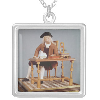 Model of Benjamin Franklin  at his table Personalized Necklace