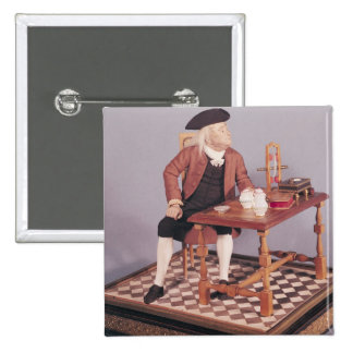 Model of Benjamin Franklin  at his table Pinback Button