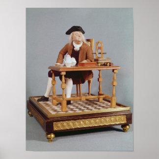Model of Benjamin Franklin  at his table Poster