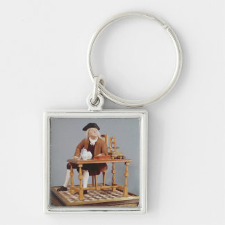 Model of Benjamin Franklin  at his table Silver-Colored Square Keychain