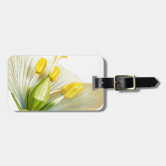 Model of flower with stamens and pistils on white bag tag