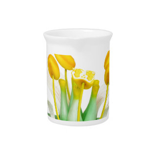 Model of flower with stamens and pistils on white drink pitcher