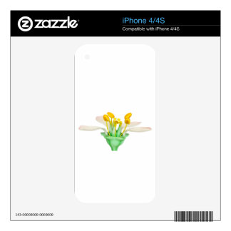 Model of flower with stamens and pistils on white skin for iPhone 4