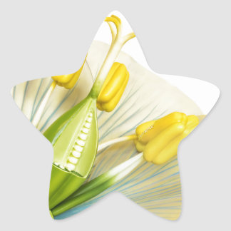 Model of flower with stamens and pistils on white star sticker