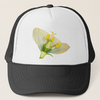 Model of flower with stamens and pistils on white trucker hat