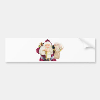 Model of Santa Claus with bell gifts and money Bumper Sticker