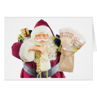 Model of Santa Claus with bell gifts and money Card