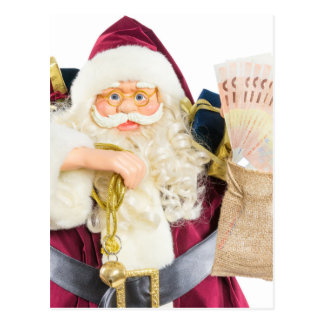 Model of Santa Claus with bell gifts and money Postcard
