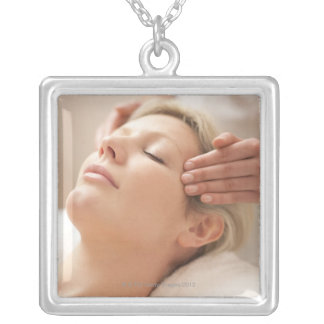 MODEL RELEASED. Facial. Square Pendant Necklace