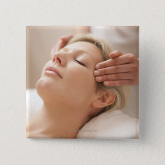 MODEL RELEASED. Facial. Pinback Button
