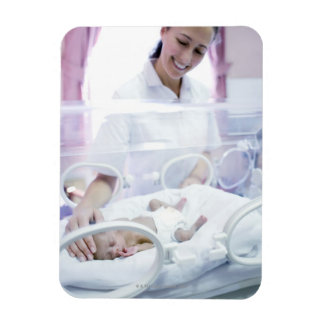 MODEL RELEASED. Nurse and premature baby. Rectangle Magnets