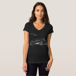 Model S Divas, White on Blk v neck t-shirt with w