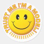 Model Trust Me Smiley Round Stickers