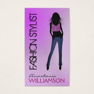 Model Wearing Blue Jeans Purple Fashion Stylist Business Card