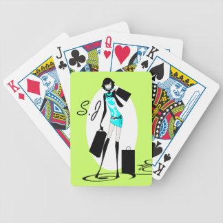 Modela el monograma de los chicas de compras baraja de cartas