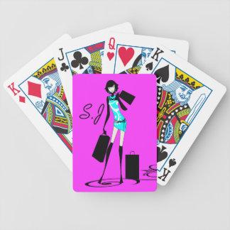 Modela rosa del monograma de los chicas de compras baraja de cartas