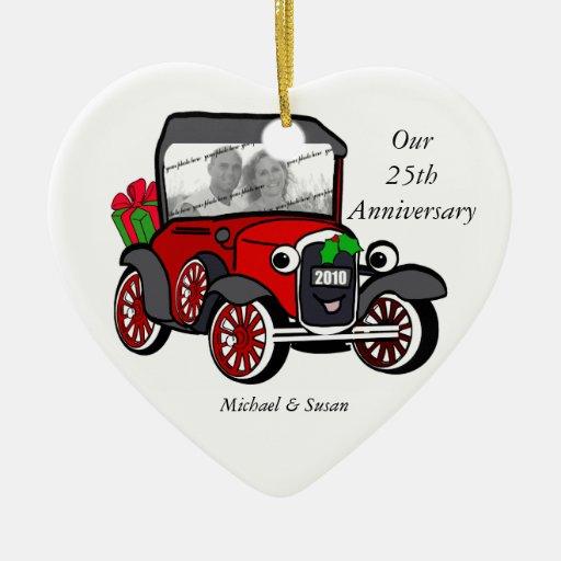Modele el navidad de una foto adorno de cerámica en forma de corazón