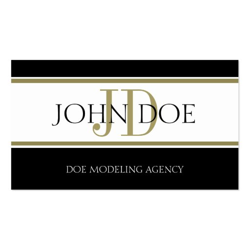 Modeling Agency Gold Stripe W/W Business Card Templates