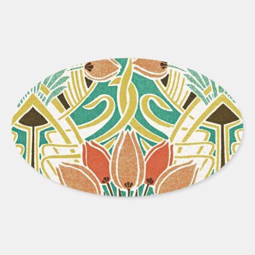 Modelo #11 de Nouveau del arte Pegatina Ovaladas Personalizadas