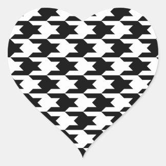 Modelo 1 de Houndstooth blanco y negro Pegatina En Forma De Corazón