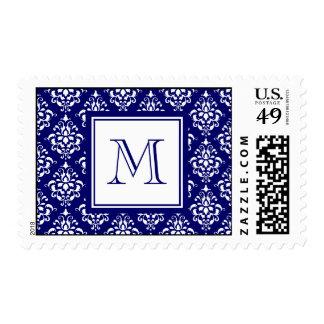 Modelo 1 del damasco de los azules marinos con el sellos